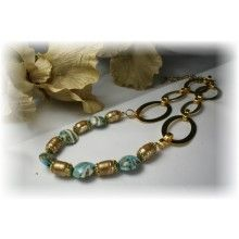 Grace Lampwork Beads // LC-11105102 - Necklace using Turquoise/Ivory