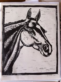 Simply Beautiful Horse Woodblock by Emily Nagel