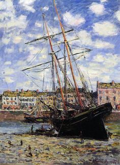 Claude Monet - Boat at Low Tide at Fecamp 1881
