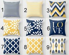 Throw Pillow Covers, Navy Yellow and White Decorative Pillows Throw Pillow Covers, Navy Yellow and White Decorative Pillows – HLB Home Designs - Mobilier de Salon Blue And Yellow Living Room, Navy Living Rooms, Living Room Grey, Living Room Decor, Bedroom Decor, Grey Room, Navy Pillows, Yellow Pillows, Accent Pillows
