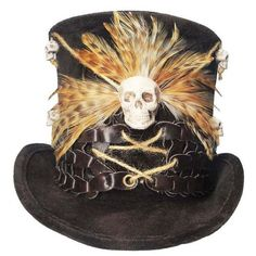 Voodoo Witch Doctor Tall Brown Top Hat Skull Bones Steampunk Gypsy... ❤ liked on Polyvore featuring home, home decor, skull home accessories, brown home decor, feather centerpieces and skull home decor
