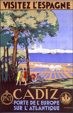Cadiz - Visitez l'Espagne Vintage Poster (artist: de Castro) Spain c. Vintage Advertisements, Vintage Ads, Granada, Cadiz Spain, Rota Spain, Poster Prints, Art Prints, Vintage Travel Posters, Spain Travel