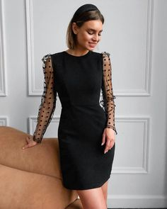 Description: Neckline: Round Neck Sleeve Length: Long Sleeve Dress Length: Mini Pattern Type: Plain Material:Polyester Size Chart: Size Bust Waist Hips Length inch cm inch cm inch cm inch cm S 31 79 M 32 80 L Black Dress Outfits, Classy Outfits, Chic Outfits, Tight Dresses, Simple Dresses, Formal Dresses, Tight Black Homecoming Dress, Homecoming Dresses, Style Noir