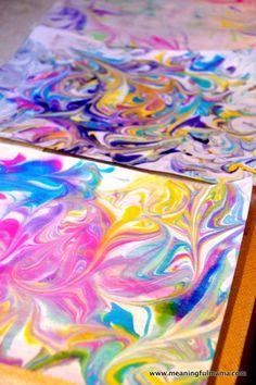 DIY Marbled Paper from Shaving Cream | Shaving cream, Diy wall art ...
