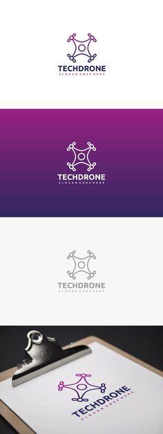 Tech Drone Logo Template AI, EPS #unlimiteddownloads