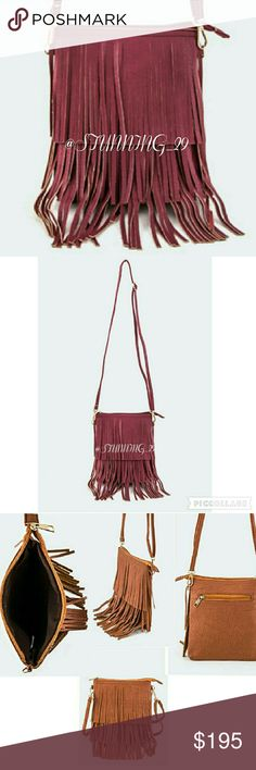 """🆕(LAST1🔽HP🔽BURGUNDY FAUX SUEDE FRINGE CROSSBODY SUPER CUTE COLOR & PERFECT FOR FALL, AVAILABLE COLOR IS BURGUNDY,  PIC#3(SAME PURSE  SHOWN IN A DIFF COLOR).  LONG STRAP,ADJUSTABLE ZIPPER CLOSURE ON TOP& 1 LARGE ZIP COMPARTMENT ON THE BACK SIDE.  MEASUREMENTS - LENGTH 7.75"""" /WIDTH APPX 1""""/ HEIGHT 7.75"""" FAUX SUEDE 🔽HP TOP TRENDS 9/26/16🔽❤@closetenvy2   &  ❤ @vittran  (✔LAST DROP PRICE FIRM UNLESS BUNDLED✔ Stunning_29  Bags Crossbody Bags"""