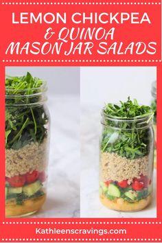 Mason Jar Food, Mason Jar Salads, Mason Jar Recipes, Mason Jar Lunch, Healthy Lunches For Work, Healthy Eating Recipes, Healthy Meal Prep, Healthy Snacks, Vegan Recipes