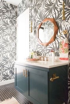 Home Decorating DIY Projects : How To Decorate Your Home on a Budget from World Market wood hexagon mirror palm wallpaper pool bathroom gold sink faucet gold hardware bathroom -Read More –