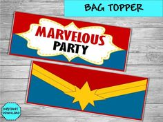 Captain MArvel Party - Captain MArvel Decorations - Superheroes Party Supplies - Heroes bag tag -Ca Hulk Spiderman, Hulk Marvel, 10th Birthday Parties, Birthday Party Themes, 4th Birthday, Captain Marvel, Captain America, Superhero Party, Avengers Infinity War
