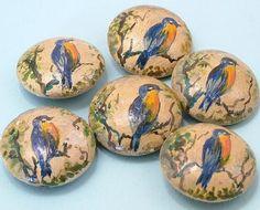 Set of 6 Antique Art Deco 1920s Hand Painted Bird Buttons   eBay