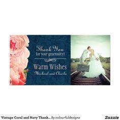 ヴィンテージ珊瑚および海軍は感謝していしています写真カード(4x8) カスタマイズ写真カード