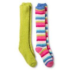 Women's 2 Pack Cozy Knee High Socks - Green & Multi Stripe