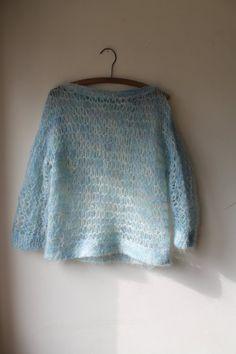 0fbab711ff ... Vintage Girls Denim Coat  innovative design 6bf35 2e57f Pretty pastal  Punk Hand knitted Baby Blue Jumper by ShellysRelics Pastel Blue ...