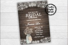 Rustic Bridal Shower Invitation Printable Lace Daisy Pink Floral Country Mason Jar Baby's Breath Flowers Wood Digital Wedding Invitation
