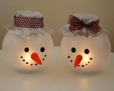 DIY Fish bowl snowmen candle holder tutorial
