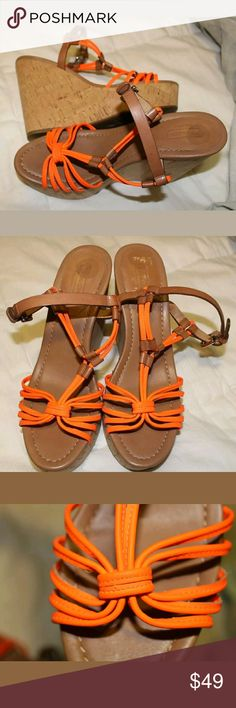 Coach Georgiana Neon Cork Wedges 8B Brand: COACH  Size: 8 B (medium width)  Condition: Excellent Used Condition- Max 4X Uses  Color: Neon Orange   Measurement is approximate: Inside Sole: 25.5 cm Heel Hight: 5 inches Coach Shoes Wedges