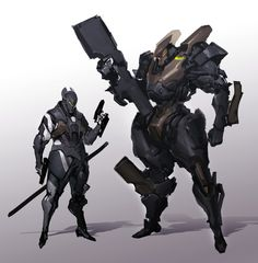 ArtStation - DUO, shinku kim Fantasy Concept Art, Robot Concept Art, Armor Concept, Weapon Concept Art, Fantasy Armor, Robot Art, Fantasy Character Design, Character Concept, Character Art
