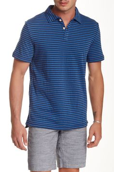 Short Sleeve Duofold Striped Polo