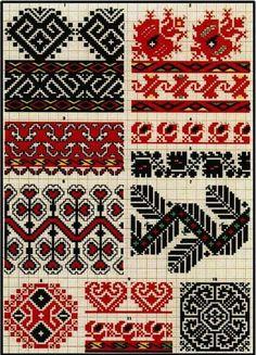 Ukrainian and Romanian embroidery of Bukovyna-Bucovina Polish Embroidery, Folk Embroidery, Cross Stitch Embroidery, Embroidery Patterns, Crochet Patterns, Cross Stitch Borders, Cross Stitch Designs, Cross Stitch Patterns, Hippie Crochet