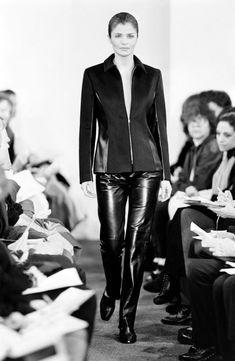 Michael Kors Fall, Helena Christensen, Supermodels, Leather Pants, Fall Winter, Runway, Fashion, Leather Jogger Pants, Cat Walk