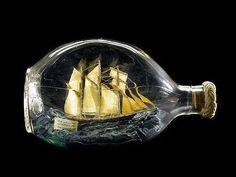 A dimple whisky bottle containing a model of the schooner 'Kathleen and May' British Maritime Museum. Boat In A Bottle, Ship In Bottle, Bottle Art, Model Sailing Ships, Model Ships, Glass Domes, Glass Bottles, Dimple Whisky, Model Ship Building
