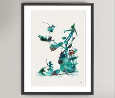 PETER PAN Nº3 Watercolor Print - Ink Wendy Kids Disney illustration Art Print 8x10 Wall Art Gift Decor Poster Wall Decor Art Home Decor on Etsy, $15.28