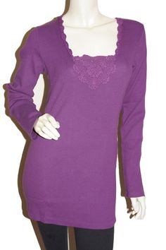 """Purple Crochet Hear Maternity Top Maternity Wear Australia - Affordable Maternity Clothes - Find FREE SHIPPING on our clearance maternity.  Enter the promo code """"20off"""" to receive another 20% off our already best deals available on discounted maternity fashion."""