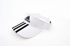 Mens / Womens Adidas Basic Logo Golf Tour Essential 3 Stripe Embroidery Touch-Fasten Size Adjustable Visor Cap - White