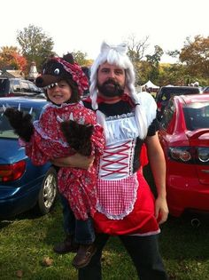 Along the same lines, this cutie wanted to be a big bad wolf for Halloween. So her dad went as Red Riding Hood, naturally.