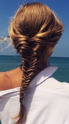 Brown Hair in Fishtail Braid♡ #Hairstyle #Hairdo #Beauty