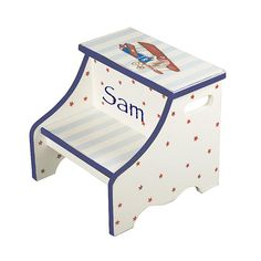 transportation step stool - airplane them - decor for kids- personalized gift for boy - unique baby boy - nursery decoration