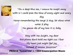 """Lyric Quotation from """"Tomorrow"""" by Prince"""