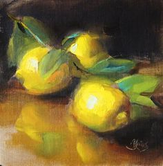 "Daily Paintworks - ""Lemons"" - Original Fine Art for Sale - © Pamela Blaies"
