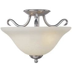 If we decide to just go with satin nickel, even though it contrasts with the dining room lighting (might match kitchen hardware). $106. Basix ES Semi-Flushmount by Maxim Lighting at Lumens.com