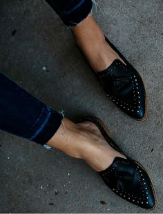 Montana Studded Tassel Loafer Mule is part of Shoes - Western style with an edge! This statement black loafer features a tassel and studs on top Man Made Leather Upper Metal studs Genuine leather insole Shaft Height 0 75 Heel Height 1 Studded Loafers, Tassel Loafers, Women's Loafers, Oxfords, Crazy Shoes, Me Too Shoes, Daily Shoes, Loafer Mules, Sandals