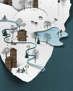 collage papier - Estonian Graphic designer Eiko Ojala's Kirigami, Map Design, Graphic Design, Eiko Ojala, Book Art, Plakat Design, Affinity Designer, Paper Illustration, Ideas Geniales