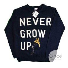 Primark Ladies DISNEY TINKERBELL Never Grow Up Jumper Sweatshirt