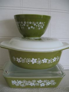 1960's Pyrex Green Daisy  Set of 3 Bowls & by SusieQsVintageShop, $33.00