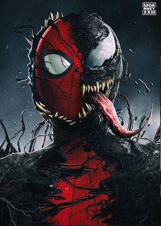 Spider-Man Vs. Venom Marvel Venom, Marvel Vs, Marvel Heroes, Marvel Dc Comics, Spiderman Art, Amazing Spiderman, Punisher Spiderman, Man Vs, Marvel Universe