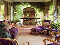 Purple is beautiful with green -- indoors and out. So why did Sunbrella stop making purple fabric? tom scheerer garden patio wicker rattan