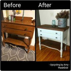 Just finished up this custom entry way table transformation for Sadie! I removed the original rails and back piece and sanded it down completely. We added a reclaimed wood top and shelf and painted it in @sherwinwilliams Frosty White. Added some new drawer pulls and ALL DONE!!! Excited to deliver it tomorrow morning !! #upcycledfurniture #beforeandafter #whitepaint #reclaimedwood #furniture