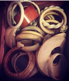 Vintage and antique African and Asian Ivory bracelets.