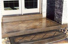 Bon Way Acid Stain on Bon Way Stamped Concrete Steps #decorativeconcrete #imprintedconcrete