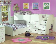 Fantastic And Adorable Full Over Twin Bunk Bed Design With Stairs In White