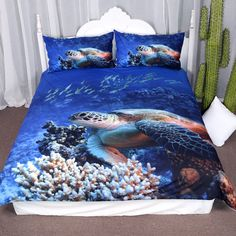 Arightex Turtle Bedding Sea Blue Duvet Cover Ocean Corals Fishes Print for Teens Boys and Girls Sealife Quilt Set (Twin) - Animals Tiktok 3d Bedding Sets, Girls Bedding Sets, Queen Bedding Sets, Luxury Bedding Sets, Comforter Sets, Bedding Decor, Duvet Bedding, King Comforter, Best Duvet Covers