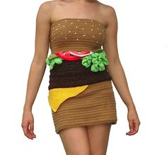 Now I ask you, who would WEAR this Crocheted Burger Dress?
