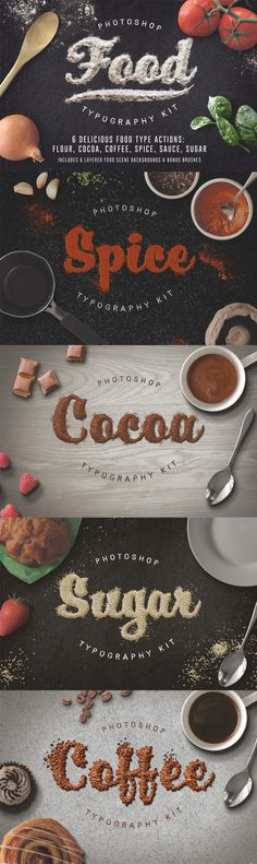 TEXTURE - This image uses the ingredients and typography to emphasis cooking ingredients.