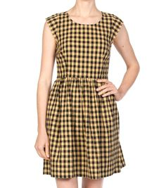 Gingham dress yellow Gingham Dress, Yellow Dress, Short Sleeve Dresses, Dresses With Sleeves, Dresses For Work, My Style, Closet, Fashion, Moda