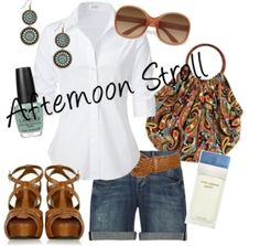 Polyvore Summer Outfits | Fun summer afternoon outfit, created by melanie-toledo on Polyvore white blue jean brown aquamarine