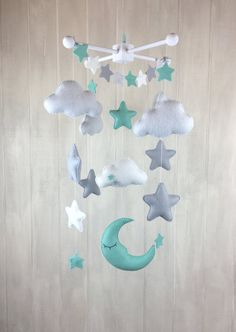Baby mobile moon mobile cloud mobile por JuniperStreetDesigns